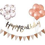 誕生日 飾り付け セット ガーランド*2本 風船*10個 ローズゴールド きらきら 華やか おしゃれ バースデー デコレーション