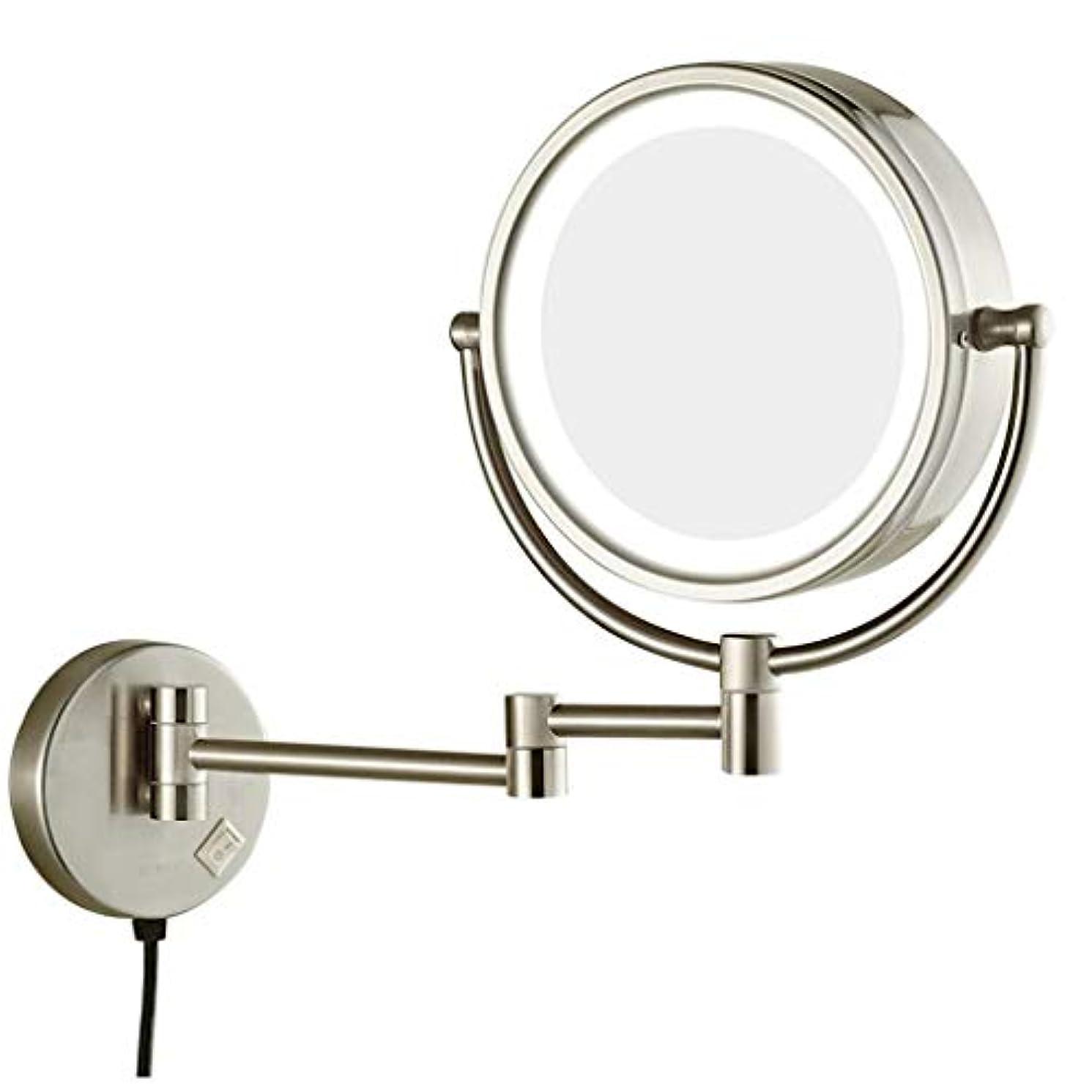 死朝ごはん活力HUYYA シェービングミラー バスルームメイクアップミラー LEDライト付き、8インチ化粧鏡 壁付 7 倍拡大鏡 バニティミラー 両面 丸め 寝室や浴室に適しています,Nickel_Hardwired connection