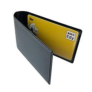 パス ケース 二つ折り 収納 ホルダー IC 電子マネー カード Suica ICOCA nanaco Edy WAON(マットブラック)