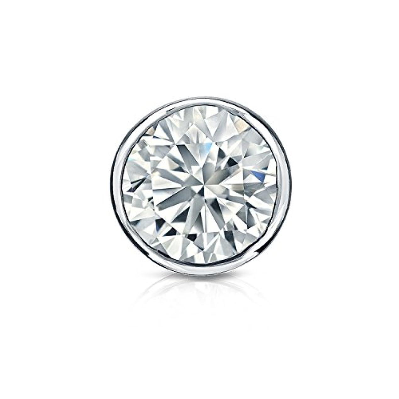 偽善暖かく受信機platinumn bezel-setラウンドダイヤモンドメンズシングルスタッドイヤリング(1 /8 – 1 CT、ホワイト、si1-si2 ) screw-back