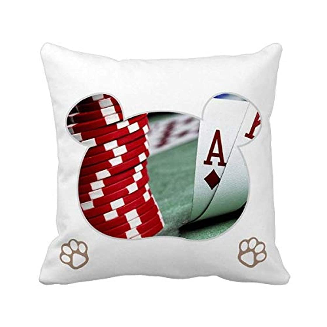ぼんやりしたモデレータ葉巻散乱ポーカー賭博のフォトチップ 枕カバーを放り投げてスクエアベア 50cm x 50cm