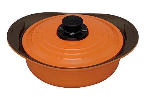アイリスオーヤマ 両手鍋 無加水鍋 24cm 浅型 IH対応 オレンジ MKS-P24S