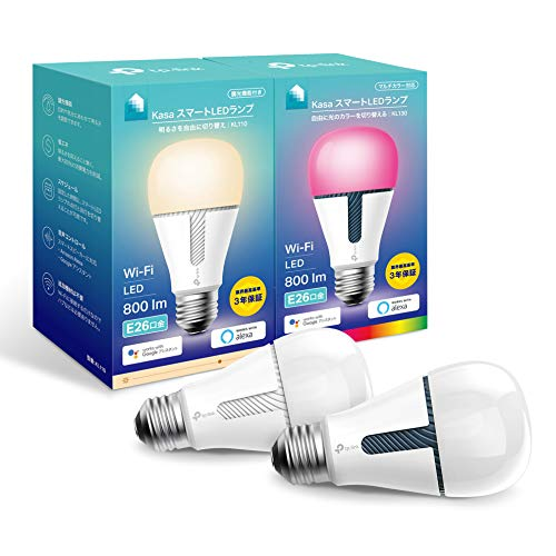 【 Amazon Alexa 認定 LED電球 】TP-Link Kasa スマート LED ランプ KL110(電球色) + KL130(マルチカラー) セット E26 800lm Echo Google Home 対応 追加機器不要 3年保証