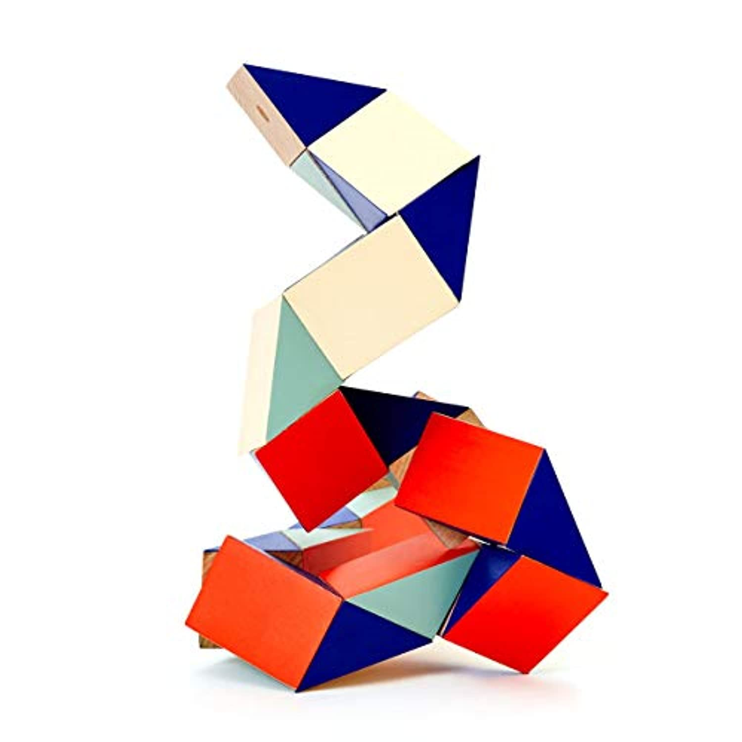 Snake Blocks 3D Puzzles : Large Red/Blue