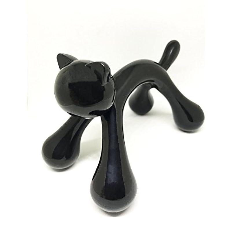 その認証せせらぎマッサージ棒 ツボ押しマッサージ台 握りタイプ 背中 ウッド 疲労回復 ハンド 背中 首 肩こり解消 可愛いネコ型 (ブラック)