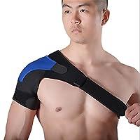 ZSZBACE肩関節 脱臼 保護 肩痛補助ベルト付き ショルダー 圧迫 スポーツ 肩の痛み 冷え性 肩コリ ストレッチ 安定 簡単装着 怪我予防 男女共用 (ブール, 左肩)