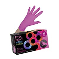 Framar Pink Paws ニトリル手袋 パウダーフリー ラテックスゴムフリー 使い捨て手袋 非殺菌 食品安全 医療グレード 便利なディスペンサー100個パック (超強度)