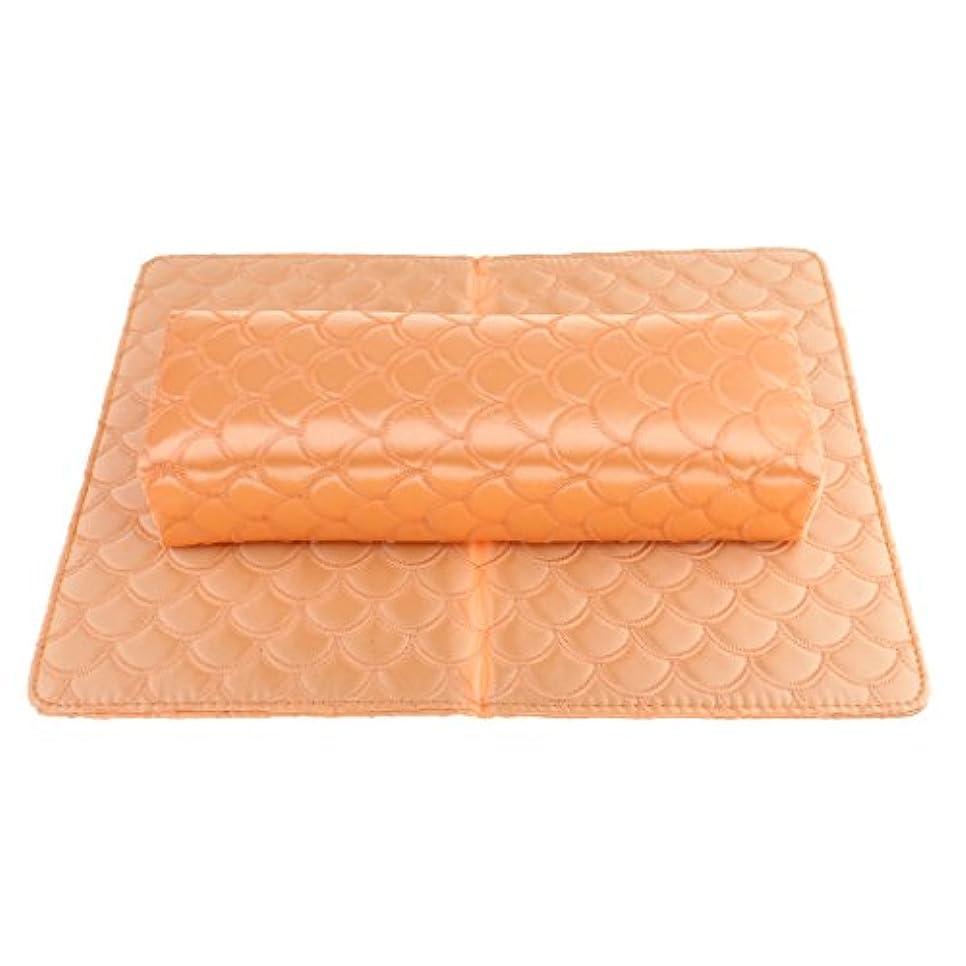ブルそれから熱帯のKesoto ハンドピロー ハンドピローパッド ソフト ハンドクッション ネイルピローパッド ネイルアート デザイン マニキュア アームレストホルダー 多色選べる - オレンジ