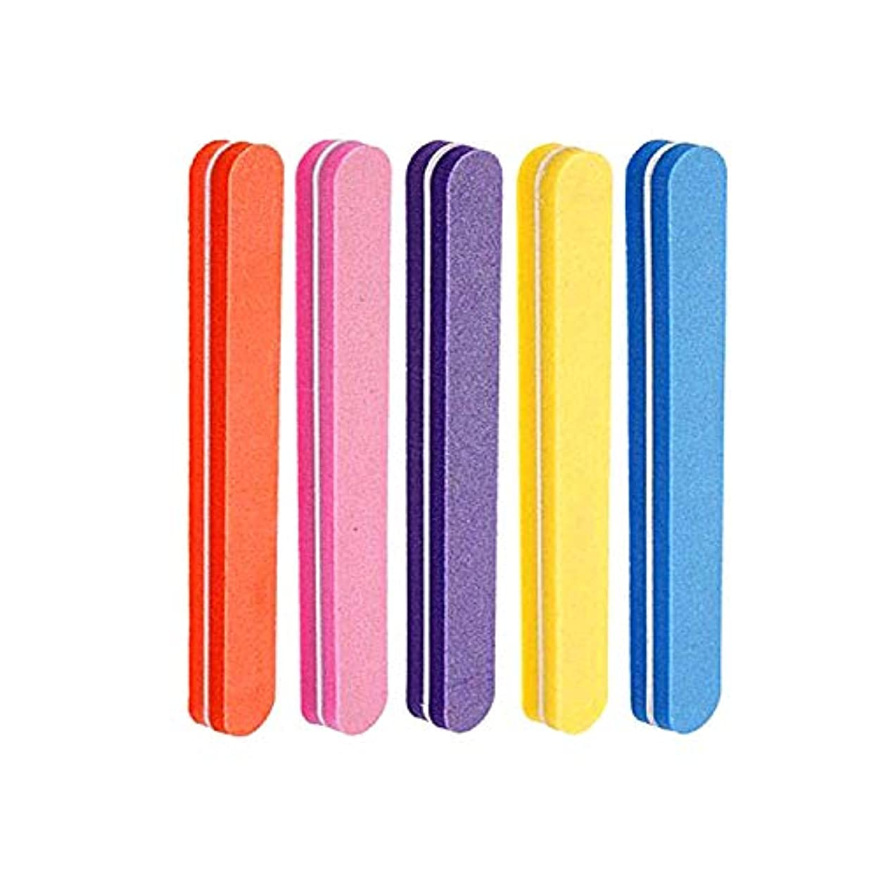 コンドームズーム手ネイルファイル 5色スポンジネイルバッファー 100/180グリット ジェルネイル用 (5本セット)