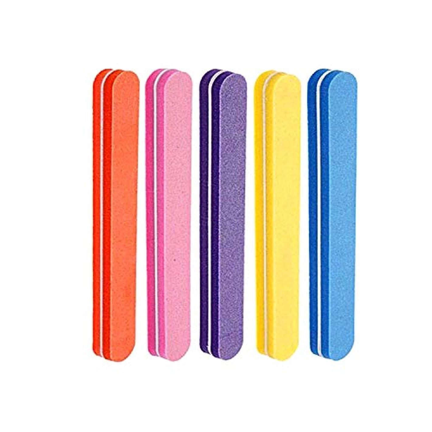 食料品店批判ハイブリッドネイルファイル 5色スポンジネイルバッファー 100/180グリット ジェルネイル用 (5本セット)
