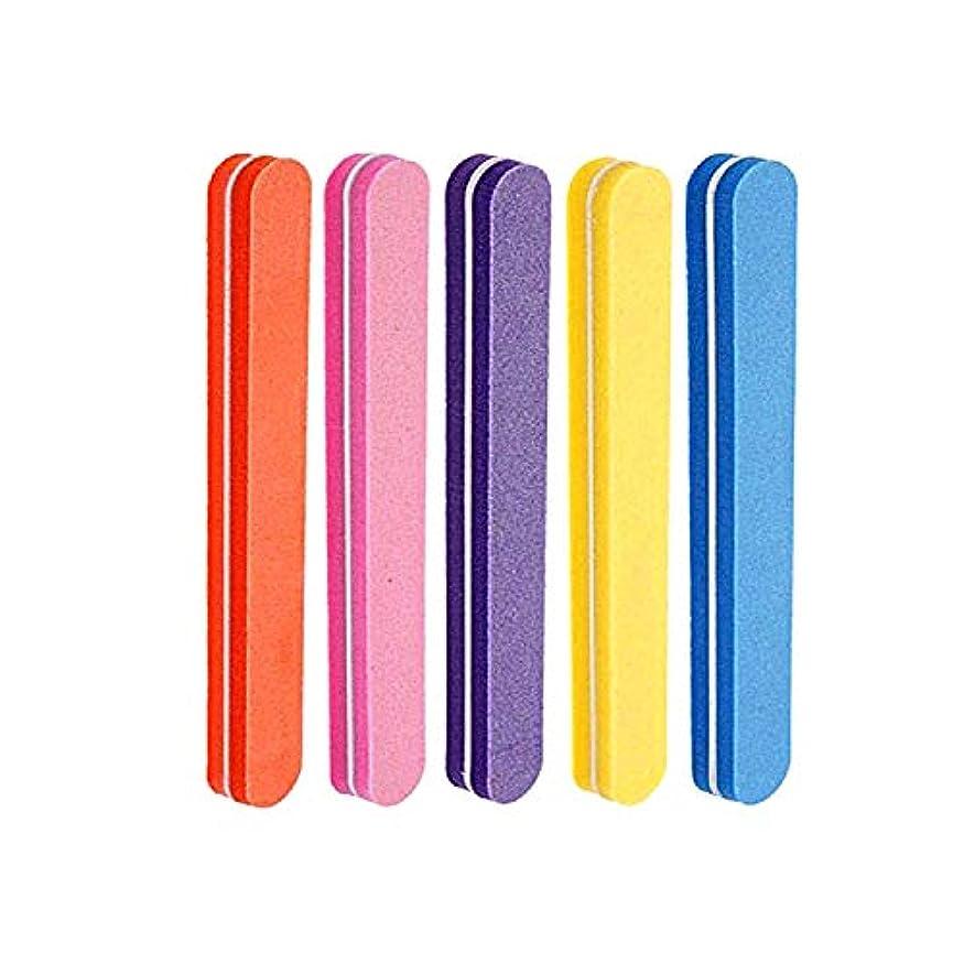 愛国的な押し下げる聴覚障害者ネイルファイル 5色スポンジネイルバッファー 100/180グリット ジェルネイル用 (5本セット)