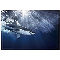 NYmB Oceanicバスラグ、Shark Jaws Swimming Sea Spray Sunlight Irradiate、子供ノンスリップドアマット床Entrywaysインドアフロントドアマット、バスマット、15.7 X 23.6in、バスルームアクセサリー