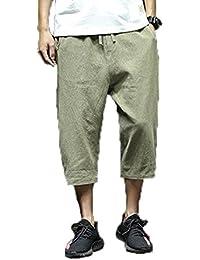 RiHeng サルエル パンツ メンズ 綿麻 ファッション 七分丈 ショートパンツ ウエストゴム カジュアル 無地 ゆったり ワイドパンツ 通気性 大きいサイズ 夏