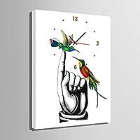 TX芸術の個性化時計(指先の中の鳥)キャンバスに時計アート絵画転宅おめでとうござい結婚祝いの油絵の風景画の壁掛け電子時計-現代置時計時計(clock) (35CM*50CM)
