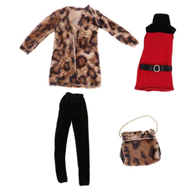 FLAMEER 豪華 トップ コート ズボン ハンドバッグ 30cmバービードールのため 人形服