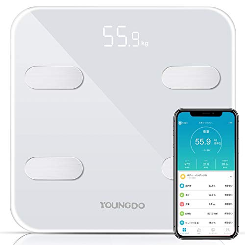 体重 体組成計 体脂肪計 YOUNGDO スマートスケール Bluetooth 体脂肪率 体水分率 筋肉率 骨量 内臓脂肪 蛋白質率 BMR(基礎代謝量) 体年齢 日本語アプリで同期分析 ホワイト