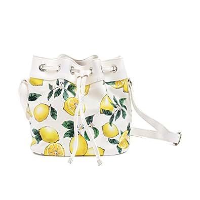 巾着ショルダーバッグ シトラスレモン レモン柄 ボタニカル柄 フルーツ柄