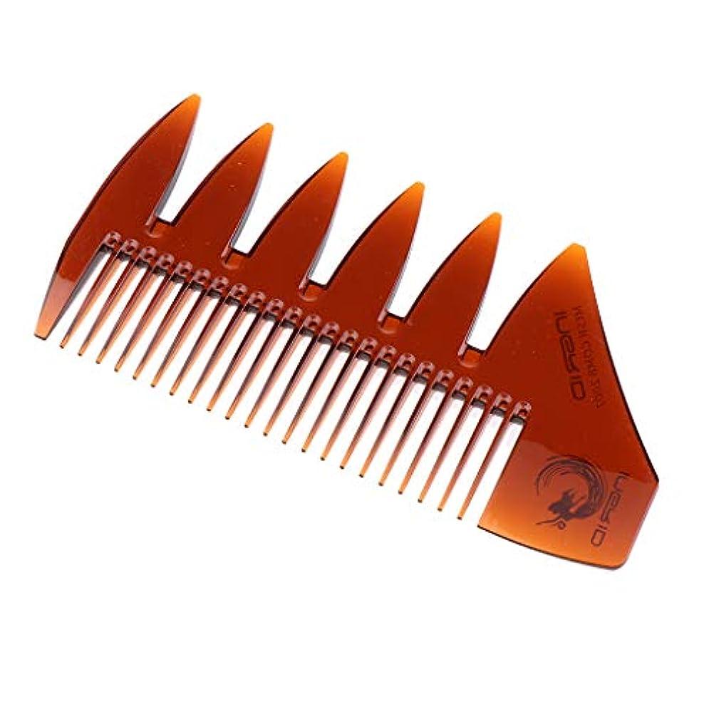 アロングカエル亡命F Fityle ヘアビアードコーム デュアルアクション 細かい/粗い歯 プラスチック 櫛 4色選べ - 褐色