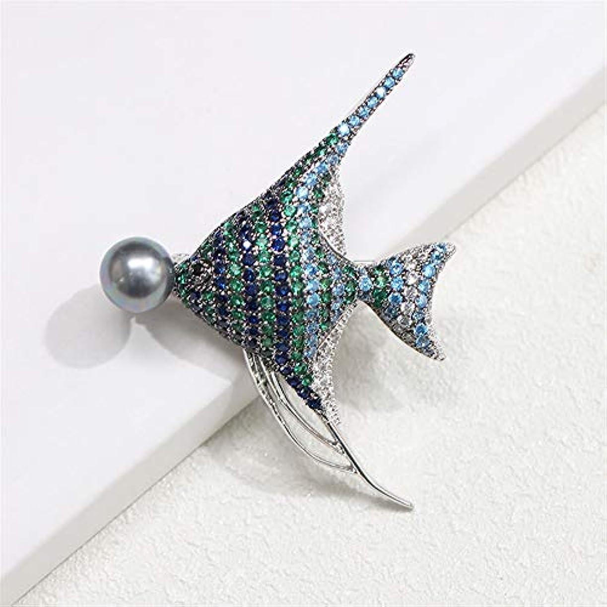 採用大声でカレンダー生地と花石鹸の花 男性と女性のための象眼細工された青と緑の熱帯魚のブローチ誇張されたブローチピン