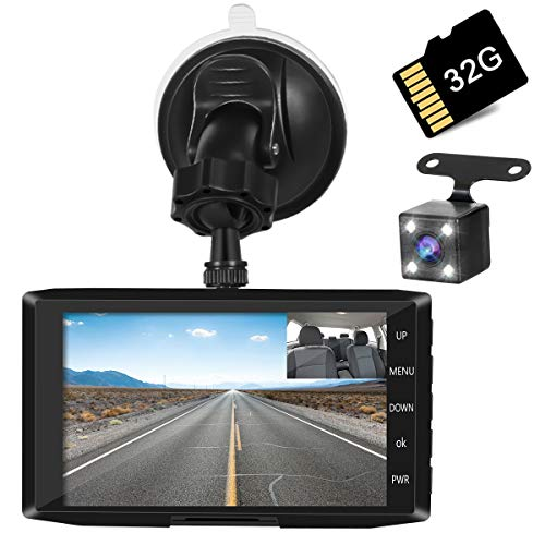 Aisea 3カメラ搭載 ドライブレコーダー 前後カメラ 車載カメラ (32GB SDカード付き)