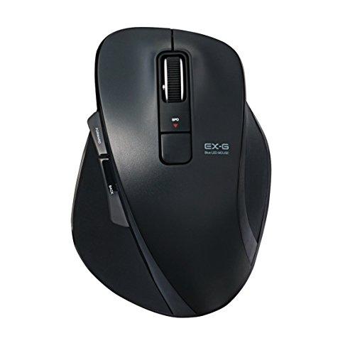 エレコム  M-XGL10UBSBK 静音EX-G 有線マウス(BlueLED/USB/5ボタン/Lサイズ/ブラック) [ブルーLED方式] (MXGL10UBSBK)