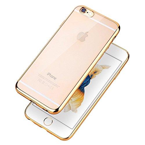 COOLOO iPhone6S ケース iPhone6 ケース TPUメッキ加工 超薄型耐衝撃 最軽量 一体型 耐久性が高い 電波影響無し 取り出し易い クリアタイプ TPU 透明 カバー アイフォン6s/6/plus対応 全五色(iPhone6/6s ゴールド)