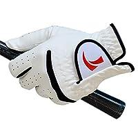 ゴルフ練習用品 滑り止めゴルフグローブ手のひら型デザインのメンズフルレザーグローブ左手右手通気性手袋 (Color : Right hand, Size : 24)