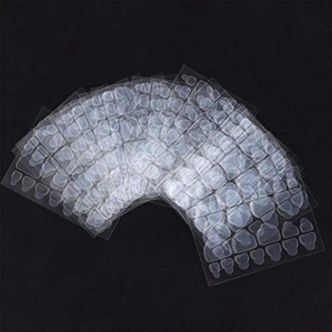 基本的な製作電信Wadachikis ノベルティ24 pcs/シートテープ偽爪ステッカー接着剤透明爪接着剤両面(None 10 pieces of nail jelly paste)