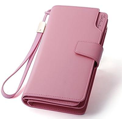 BOSTANTEN Womens Leather Clutch Wallets Wristlet Long Zip Cash Card Holder