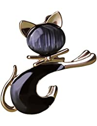 MECHOSEN キャッツアイ石 かわいい 動物 レディース ブローチ ピン 猫 アンティーク 卒業式 ホワイトデー 人気 お返し 誕生日プレゼント 女性 記念日 18Kゴールドメッキ 黒い (黒い)