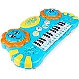 TLMYDD 音楽小さなピアノ子供の電子ピアノ幼児幼児教育パズル多機能女の子のおもちゃを再生することができます キッズキーボードピアノ (Color : Blue)