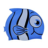 GRALARA 水泳学習 キッズ 子供 シリコーン スイミング 水泳キャップ ハット 水泳帽 フィッシュ柄 全2色 - 青