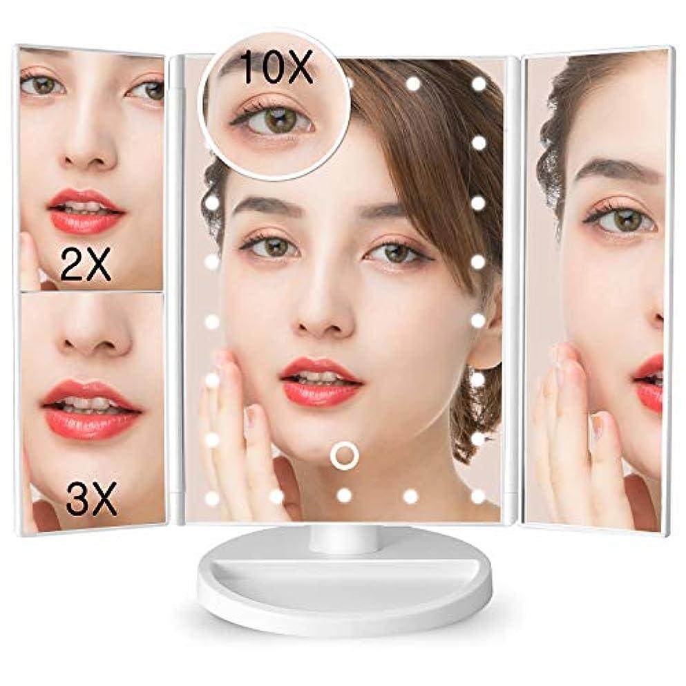 レーダーフローティングバナナsoafiya 化粧鏡 化粧ミラー 鏡 三面鏡 女優ミラー 卓上 led付き 折りたたみ 拡大鏡 2&3倍 明るさ調節可能 180°