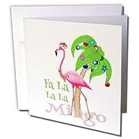 Macdonald Creative Studios - メリークリスマス - ファニービーチ クリスマス FA la la la Mngo フラミンゴとヤシの木。 - グリーティングカード。 Individual Greeting Card