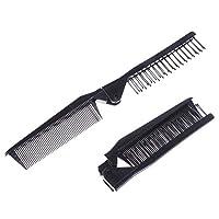 SUPVOX 5個のポケット折りたたみヘアコームダブルヘッドヘアブラシヘアドレススタイリングコームスムースヘアトラベルホームユース(ブラック)