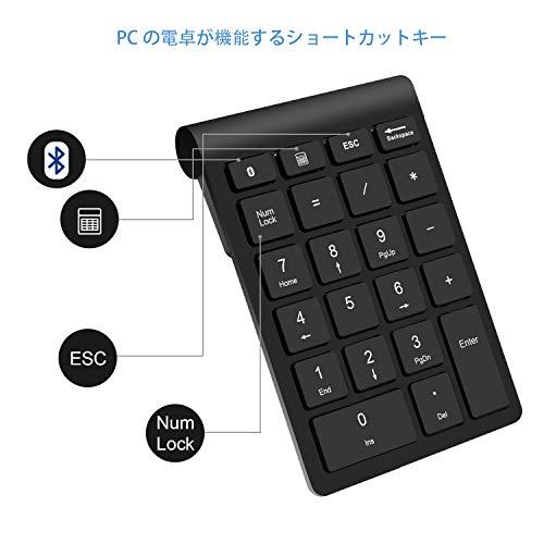 『Bluetooth テンキー、Rytakiポータブルワイヤレスブルートゥース22-キーナンバーキーパッド。ラップトップ、デスクトップ、PC、ノートブック向けの会計データー入力タイプ』の1枚目の画像