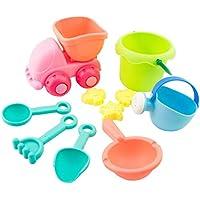 Vibola Sand Water Beach Play Toys Set 10pcs Kids Children Seaside Bucket Shovel Rake Kit Building Truck Moulds Funny Tools
