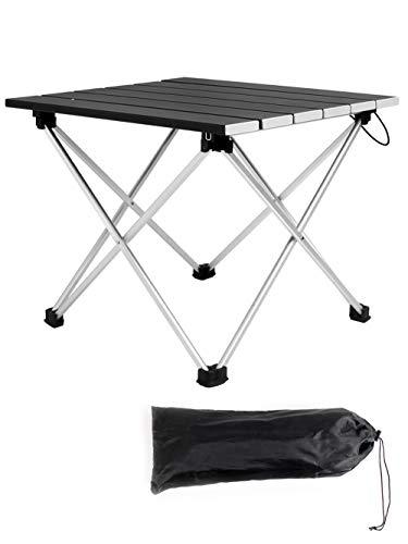 Saiveina キャンプテーブル アルミ製 ロールテーブル ミニ コンパクト アウトドア用 バーベキューに最適 折りたたみ式 耐荷重30kg 軽量 耐熱 収納バッグ付 一年間保証(ブラック)