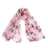 Tonsee レディーズ ファッション スカーフ ローズ 花柄 シフォン ショール ロングショール