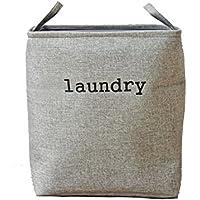 綿麻 軽便的 大容量タイプの洗濯かご 洗濯かご ランドリーバスケット 折りたたみ 収納袋 長方形の収納バスケット … (グレー)