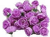 (Mikishin) バラ 造花 50個 3cm ブーケ ローズ 薔薇 結婚式 装飾 (パープル)