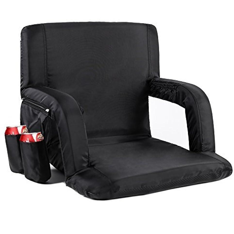 計算する凍るエジプト人Sportneer Portable Stadium Seat Chair, Reclining Seat for Bleachers with Padded Cushion Shoulder Straps, Black [並行輸入品]