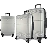 Eaglemate 3pc Luggage Set Suitcase Trolley Carry On Hard Case Soft Lightweight Luggage Set