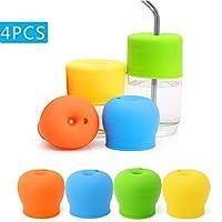 シリコーン コップのふた Sippy cup lids ッピーストローカップ蓋 ベビートレーニングのため 乳幼児用 こぼれ防止シッピーカップ FDA承認済み (4PCS)