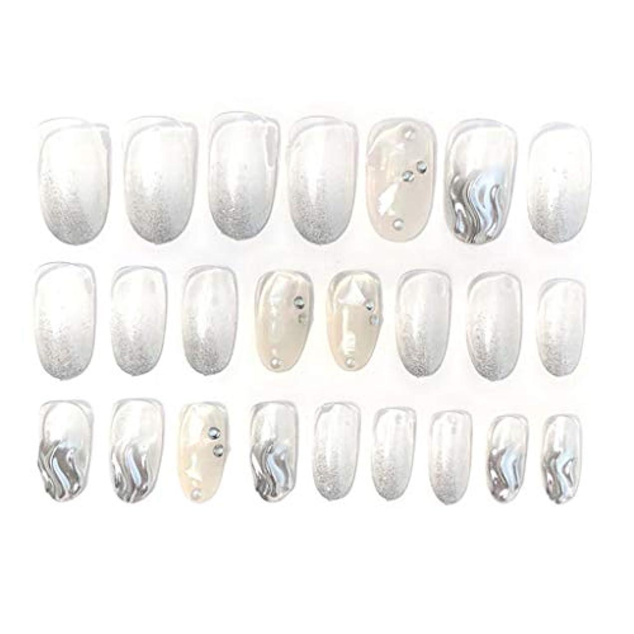 細部ホイッスルメールを書くSharring 24pcs / setウェーブシェルアクリルフェイク指の爪インレンダリング偽爪シンプルな女性フルネイルのヒントパッチショートネイルアートDIY両面テープ付き [並行輸入品]
