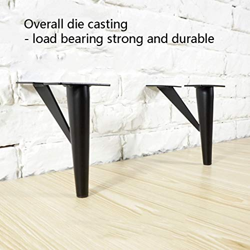 Furniture legs 4X Furniture Feet Black Wrought Iron TV Cabinet Feet Metal Support Frame Furniture Mats Interchangeable Bed Legs Coffee Table Mat Contains Screws, Protective Pads