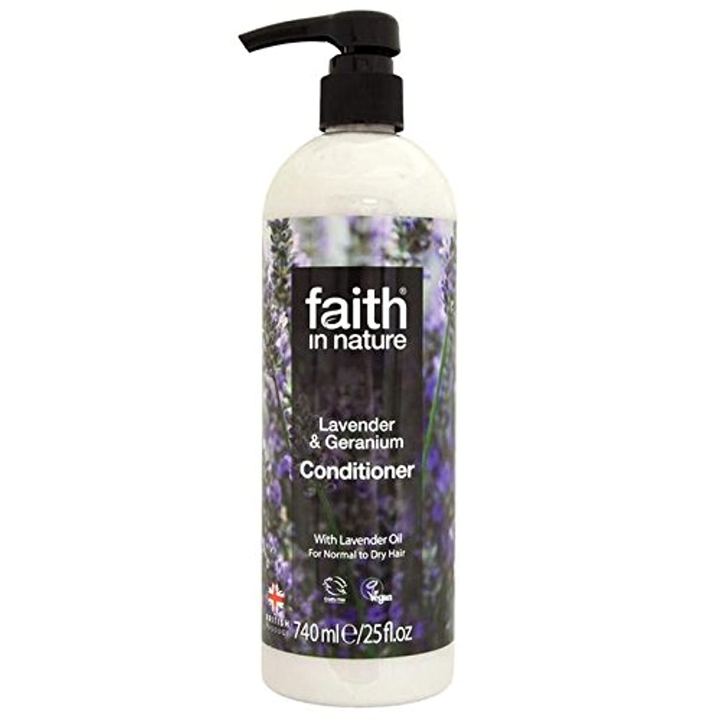 頭痛鷹クランプFaith in Nature Lavender & Geranium Conditioner 740ml (Pack of 4) - (Faith In Nature) 自然ラベンダー&ゼラニウムコンディショナー740...