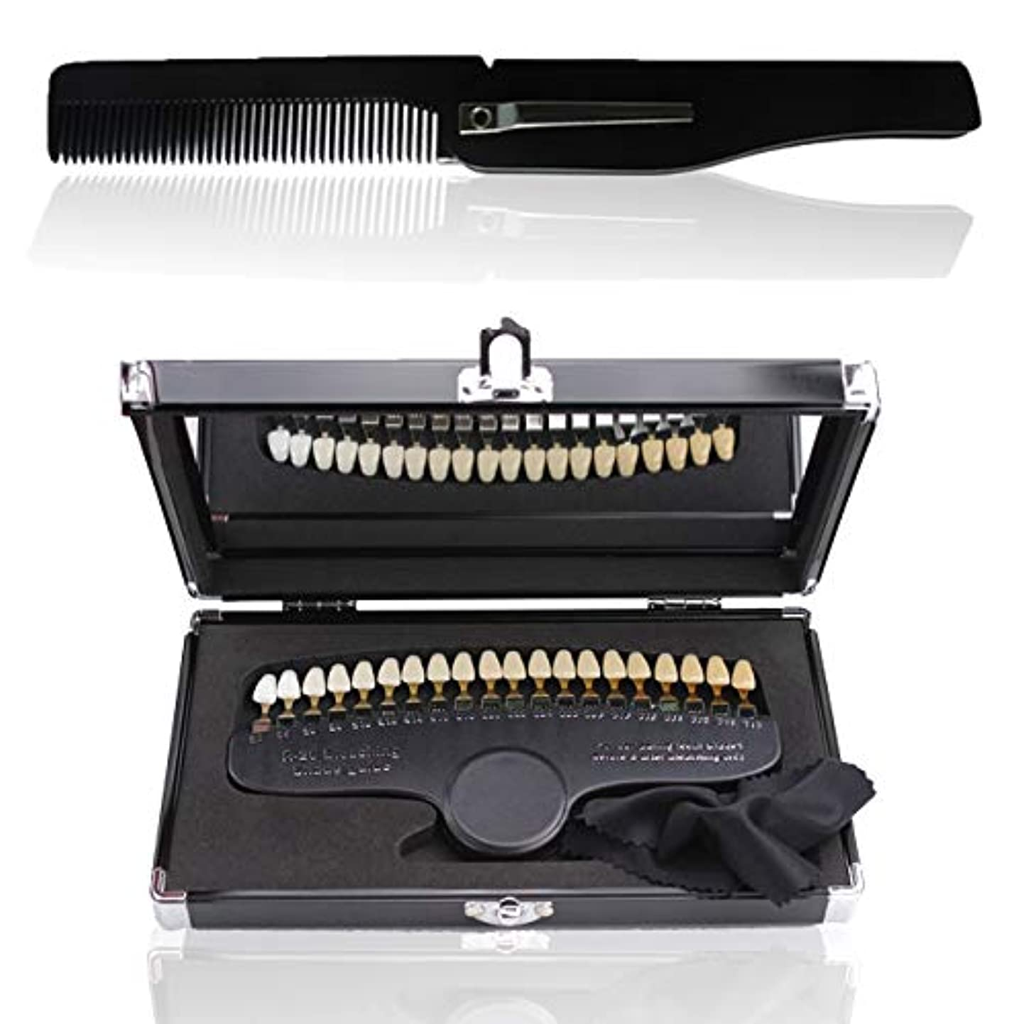 うまれた挽く口頭フェリモア 歯 シェードガイド 色見本 歯列模型 段階的 櫛付き 鏡付き 収納ケース付き 20段階 (20段階)
