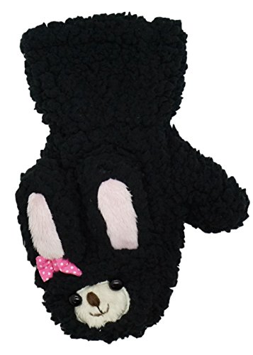 アニマル シリーズ ミトン タイプ 手袋 モコモコ ふわふわ 猫 ヒツジ クマ うさぎ (モコモコ うさぎ 黒)