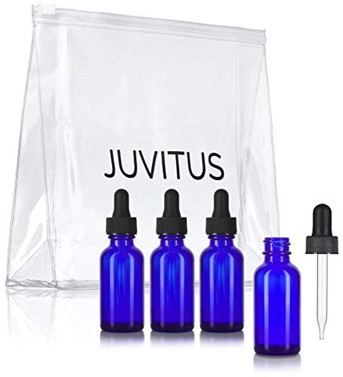 叙情的なクレア切り離すCobalt Blue Glass Boston Round Dropper Bottle - 1 oz (4 Pack) + Clear Travel Bag for Essential Oils, Aromatherapy...